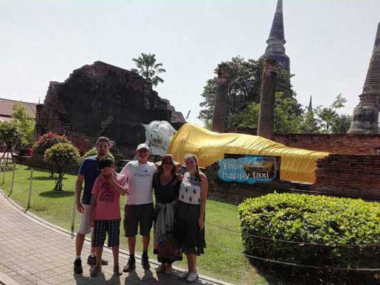 The reclining buddha. Our Bangkok taxi and tours service takes our guests to Ayutthaya Historical Park.