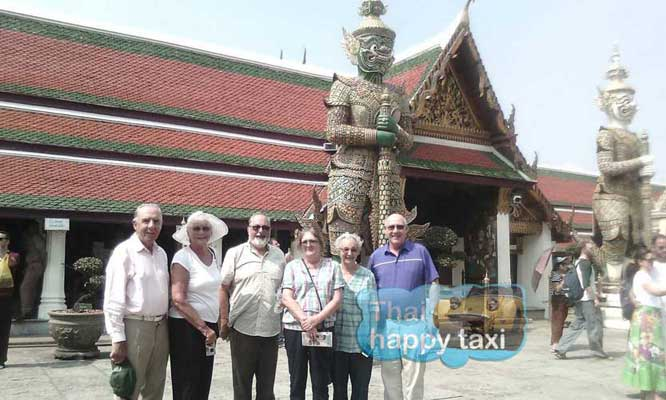 Green giant! Our Bangkok taxi and tours service take the guests to the must visit Wat Phra Kaew in Bangkok.