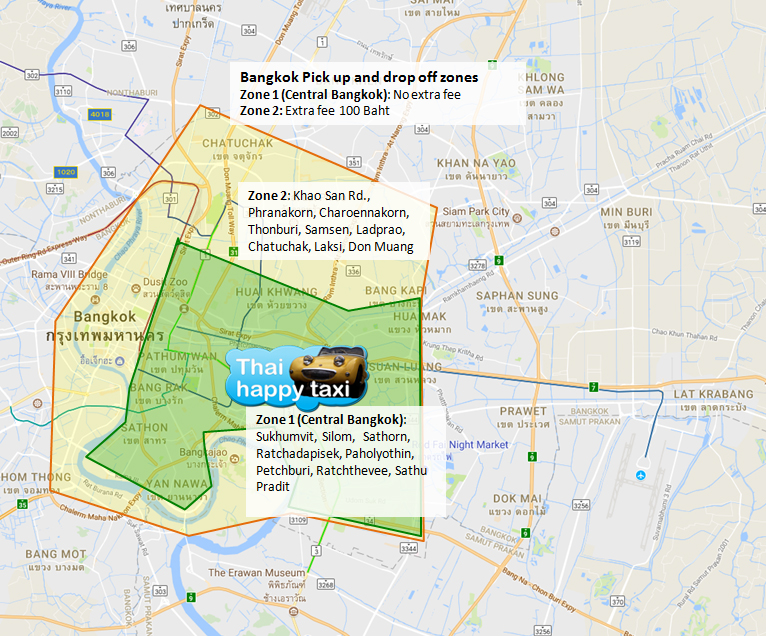Bangkok Pick up and drop off zones
