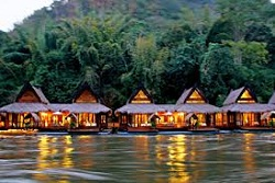 Floating cottage is common on the river Kwai Kanchanaburi