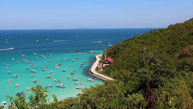 The Coral Island features clear blue water just off the coast of Pattaya