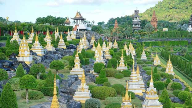 Beautiful mini pagodas in Nong Nooch Tropical Garden